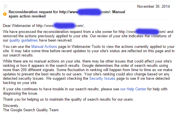 Manual Spam Action Revoked, but penalty is still there.